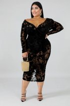 Plus Size 6XL Sexy Deep V Neck Lace Midi Dresses OSM4076