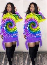 WGW Tie Dye Print Long Sleeve Mini Dresses LQ5103
