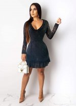 WGW Sexy Lace Backless Long Sleeves Mini Dresses OY6060