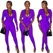 WGW Leoaprd Print Splice Front Zipper Long Sleeve Jumpsuits TK6041