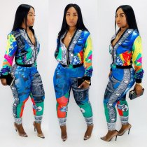 WGW Casual Printed Jacket Top And Pants Two Piece Sets CY1952