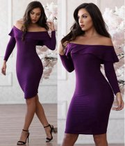WGW Sexy Slash Neck Long Sleeve Bodycon Dresses CL6031