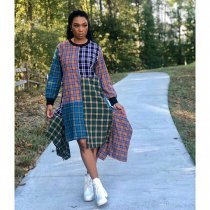 WGW Plaid Print Patchwork Irregular Loose Midi Dresses KSN5075