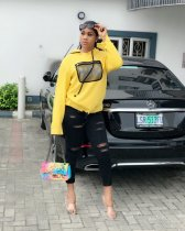 WGW Yellow Casual Hooded Sweatshirt Hoodies YNB7031