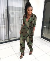 WGW Camouflage Print V Neck Loose One Piece Jumpsuit OY6068