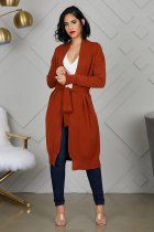 WGW Solid Knitted Belted Loose Cardigan Coats FNN8312
