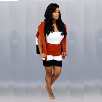 WGW Casual Hooded Knitted Sweater And Shorts 2 Piece Sets MOS953