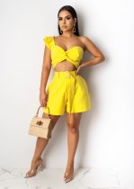 WGW Sexy Wrap Chest Crop Top Shorts Two Piece Sets YIY5121