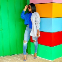 WGW Casual Irregular Patchwork Long Sleeve T Shirt MEM8240