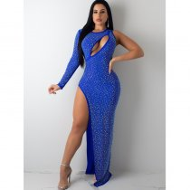 WGW Sexy Rhinestone High Split Maxi Evening Dress MUE2735