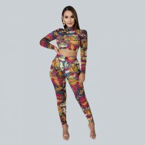 WGW Cartoon Print Long Sleeve Two Piece Pants Set AL144