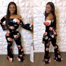 WGW Floral Print Slash Neck Long Sleeve Jumpsuits YF9535