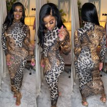 WGW Leopard Print Long Sleeves Slim Maxi Dresses LQ5107