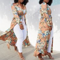 WGW Floral Print Notched Neck Long Sleeve Robe Maxi Dress SC692
