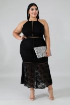 WGW Plus Size 5XL Sexy Stappy Backless Lace Long Dress OSM4080