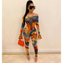 WGW Sexy Slash Neck Long Seeve Printed Jumpsuits SHA6108