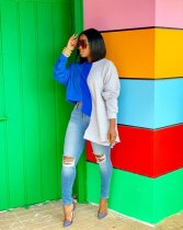 WGW Contrast Color Irregular Long Sleeve Pullover Tops OD8318