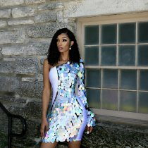 WGW Sexy Sequin Patchwork One Shoulder Bodycon Dress OSM5310