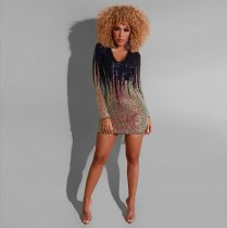WGW Sexy Sequin Long Sleeve Club Mini Dresses ME371