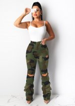 WGW Camouflage Print Casual Holes Long Pants LSD8632