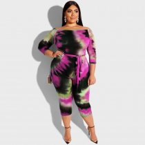 WGW Plus Size 5XL Tie Dye Print Calf Length Jumpsuits OSS19418