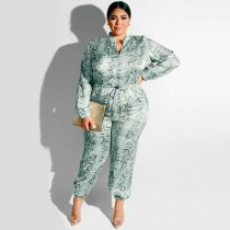 WGW Plus SIze 5XL Snake Skin Print One Piece Jumpsuits OSS19376