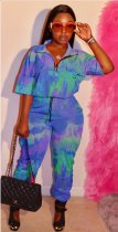 WGW Tie Dye Print Casual Loose One Piece Jumpsuits OMF5038