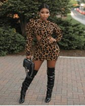 WGW Sexy Leopard Print Backless Long Sleeve Mini Dress CYAO8518
