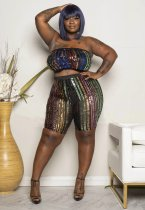 WGW Plus Size Sexy Sequined Tube Tops And Shorts Sets YIF1094