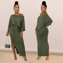 WGW Solid Off Shoulder Split Long Dress Two Piece Sets SHE7142
