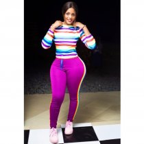 WGW Rainbow Stripe Long Seeve Casual Two Piece Outfits HZM1027