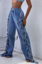 WGW Plus Size Casual Loose Denim Tassel Long Jeans Pants NY003