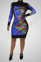 WGW Sexy Sequin Patchwork Long Sleeve Bodycon Dress CYA8181