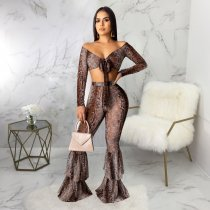 WGW Snake Skin Print Crop Top And Pants 2 Piece Sets SMR9461
