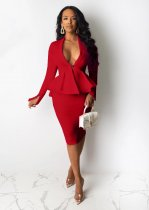 WGW Solid Peplum Tops And Midi Skirt Two Piece Sets OJS9172