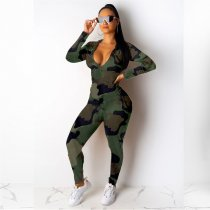 WGW Camouflage Print Hooded Casual Two Piece Sets CQ5290