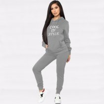 WGW Letter Print Hooded Tracksuit Two Piece Sets YMT6116