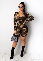 WGW Camo Print Short Jacket+Playsuit Two Piece Sets ML7257