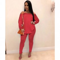 WGW Solid Off Shoulder Backless Two Piece Pants Sets SHE7146