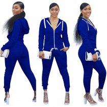 WGW Solid Hooded Zipper Long Sleeve Two Piece Sets YMT6117