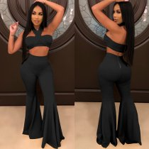 WGW Sexy Crop Tops And Boot Cut Pants 2 Piece Sets NY7053