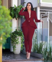 WGW Solid Ruffles Hem Blazer Long Pants Two Piece Suits CM610