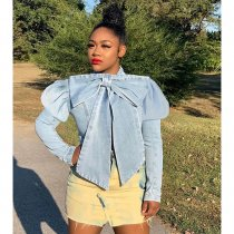 WGW Trendy Bow Knot Puff Sleeve Denim Jacket Coats CQ5295