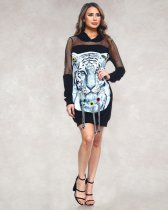 WGW Trendy Printed Patchwork Hooded Mini Dresses LX6058