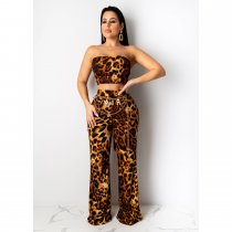 WGW Sexy Leopard Print Lace Up Tube Top And Pants Sets CHY1199