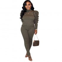 WGW Plus Size Puff Sleeve Tops Long Pants Two Piece Sets MTY6231