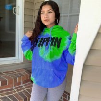 WGW Tie Dye Print Hooded Casual Hoodies Sweatshirt MEM8245