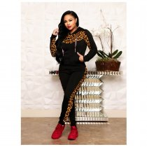 WGW Leopard Print Patchwork Hooded Two Piece Sets ORY5141