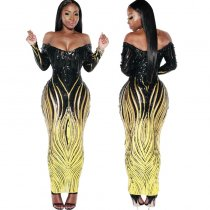 WGW Sexy Sequin Long Sleeve Maxi Dresses With Panties CYA8230