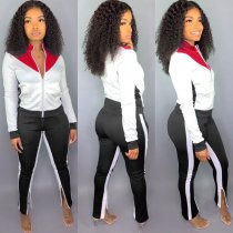WGW Plus Size Casual Tracksuit Zipper Two Piece Sets QY5145